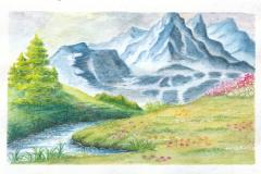 watercolor pencils landscape